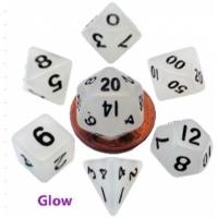 MDG: Mini Polyhedral Dice Set Glow ClearwBlack Numbers7