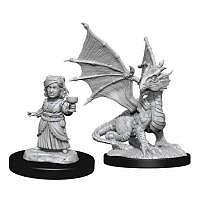 Vorbestellung - D&D/RPG: Nolzurs Marvelous Unpainted Miniatures: W13 Silver Dragon Wyrmling & Female Halfling
